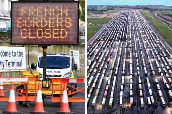 uk trucks trapped french border covid 19 variant