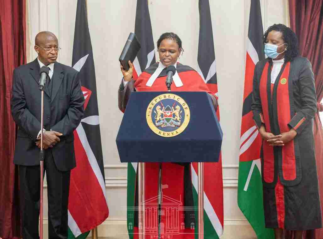 Martha Koome being sworn in as Kenya's first woman chief justice