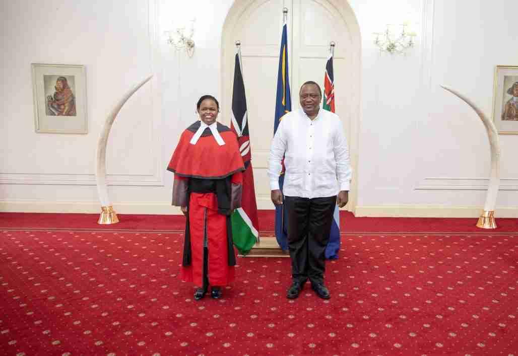 Martha Koome and the president of Kenya Uhuru Kenyatta