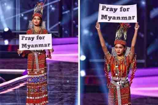 miss universe myanmar sign pray for myanmar protest thumbnail