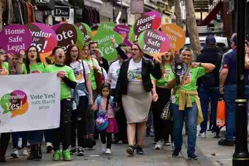 gibraltar abortion legalize refernedun women crowd march