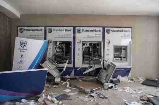 Damaged atms at a shopping mall in Soweto region.