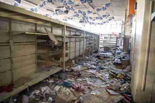 Looted markets in Gauteng region, South Africa.