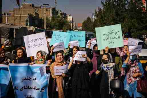 afghanistan taliban government women protesting 2