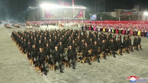 north korea military parade hazmat suits