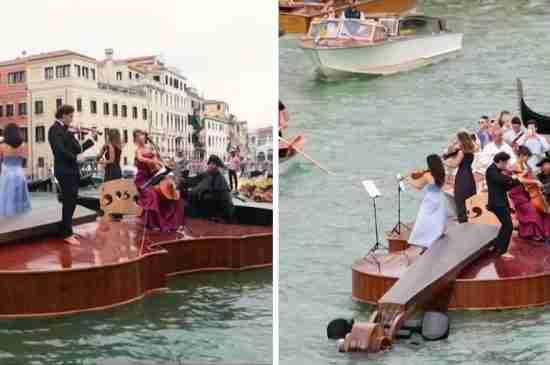 venice giant violin boat